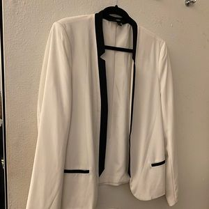 White and black blazer